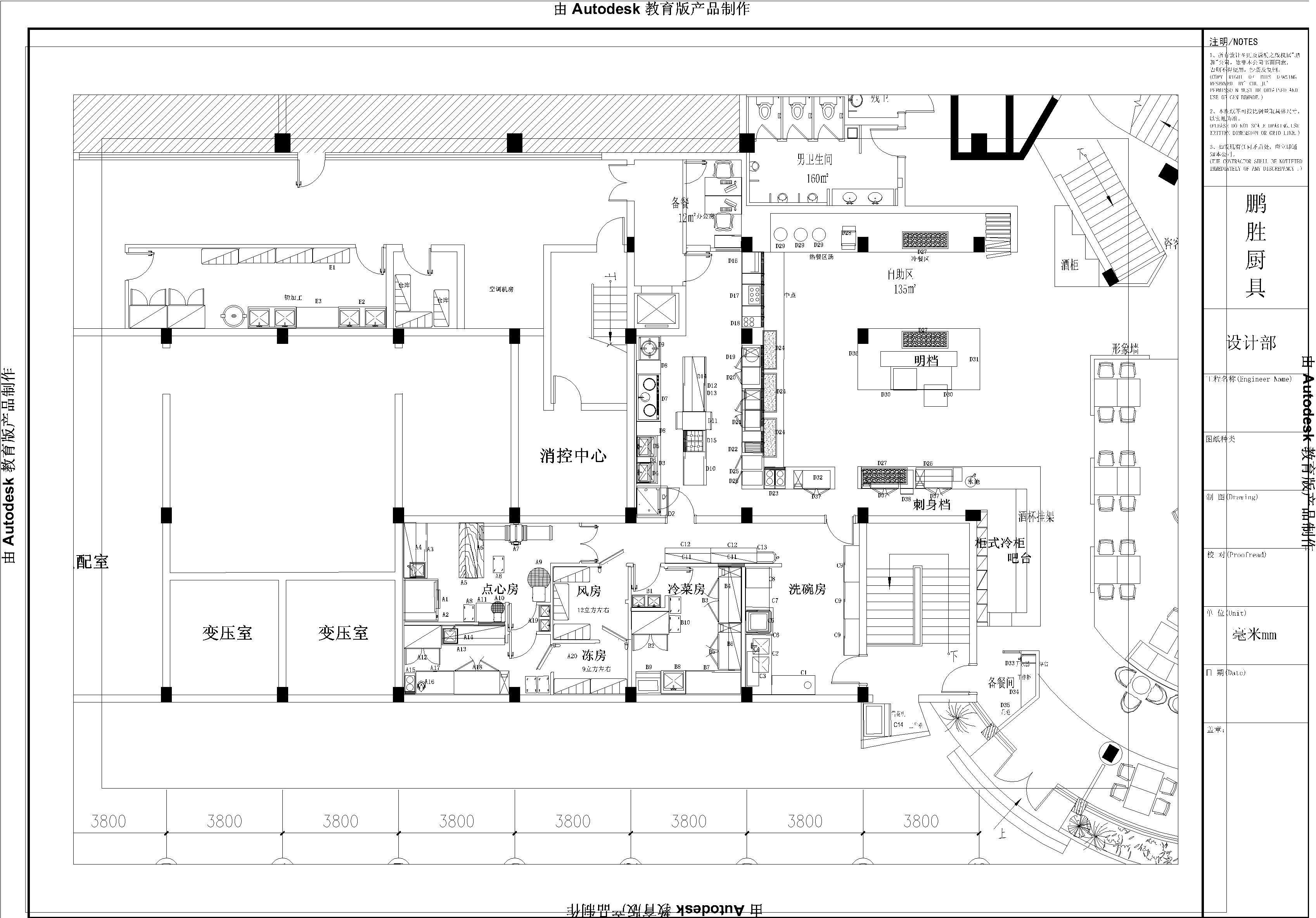 西餐厨房的设计和布局,包括厨房建筑和室内环境的总体设计,以及